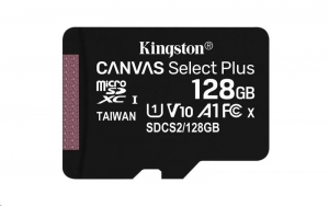 128GB microSDXC Kingston Canvas Select Plus  A1 CL10 100MB/s bez adapteru SDCS2/128GBSP